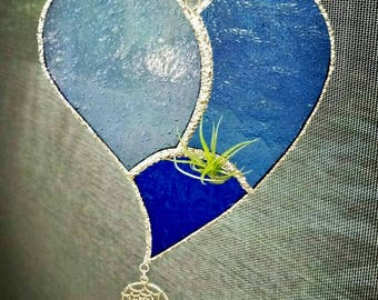 Stained Glass Air Plant Holder - Blue Heart Design