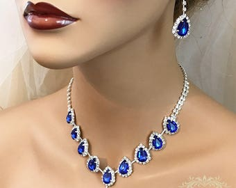 Royal Blue Wedding jewelry set, Bridal jewelry, bridesmaid necklace earrings, vintage inspired rhinestone bridal statement evening jewelry