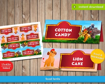 The Lion Guard Food Tent - Printable Food Label Tent, decoration, favors - Text Editable - INSTANT DOWNLOAD