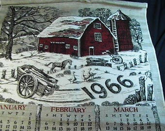 Vintage 1966 Calendar Tea Towel, Winter Farmhouse, 1966 Kitchen Towel, Retro Tea Towel, Calendar Towel