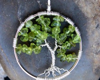 Peridot Tree of Life Wire Wrapped Pendant