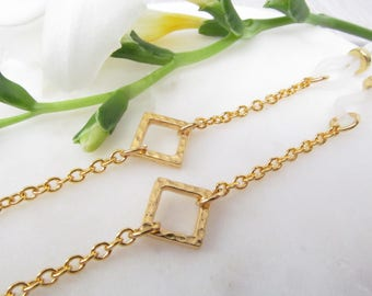 Gold Chain for Reading Glasses with Square Accent; Glasses Chain; Eyeglasses Leash; Glasses Necklace Holder; Cord for Readers; Kalxdesigns
