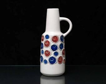VEB HALDENSLEBEN Handled Vase 1960s Vintage East Germany Ceramic Form 4072 White