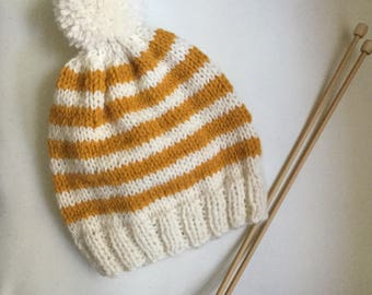 Knit Toddler Beanie / Toddler Beanie with Pom Pom / Striped Toddler Beanie / Mustard and Cream Toddler Hat