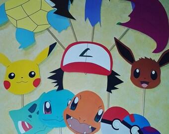 Pokemon Photo Booth Props, Pokemon Party, Pokemon Photo Booth Set, Pokemon Birthday Party Supplies, Pokemon Birthday Gif5 Idea, Pokemon