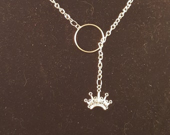 Silver Loop Necklace with Crown Charm
