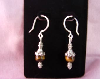 Beautiful Tigereye and pewter dangle earrings