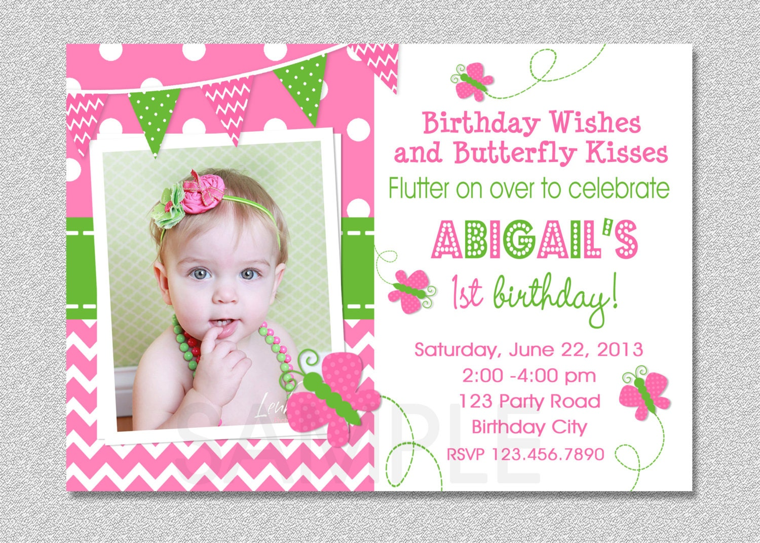 Butterfly Birthday Invitation Butterfly Invitation Girl