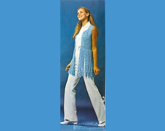 70s Fringed Bolero - Vest - Vintage Crochet Pattern - INSTANT PDF DOWNLOAD - 200631