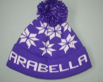 Personalized and machine washable child's knit hat - Arabella, Kylee, or Phoebe