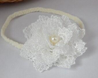 Baptism headband, hairband for christening, wedding off white hair band for baby, girl, adult, flower girl,