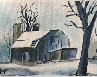 Winter Barn greeting card/Watercolor Greeting Card/Snow scene card/Winter snow scene/5 x 7 card/Card and envelope/Winter scene
