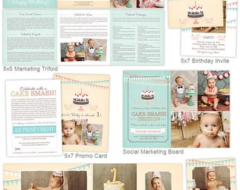 Cake Smash Photography Marketing Set, Cake Smash Templates. First Birth Templates, Photography Marketing Board - CKS101