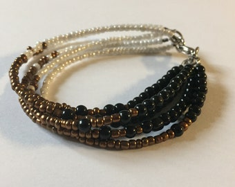Black, Gold and White Seed Bead Strands Bracelet