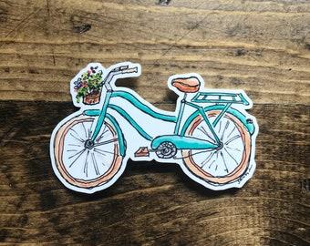 Vinyl Sticker - Bike Sticker - Watercolor Sticker - Sticker for laptop - Water bottle sticker - Bumper sticker - original art - watercolor