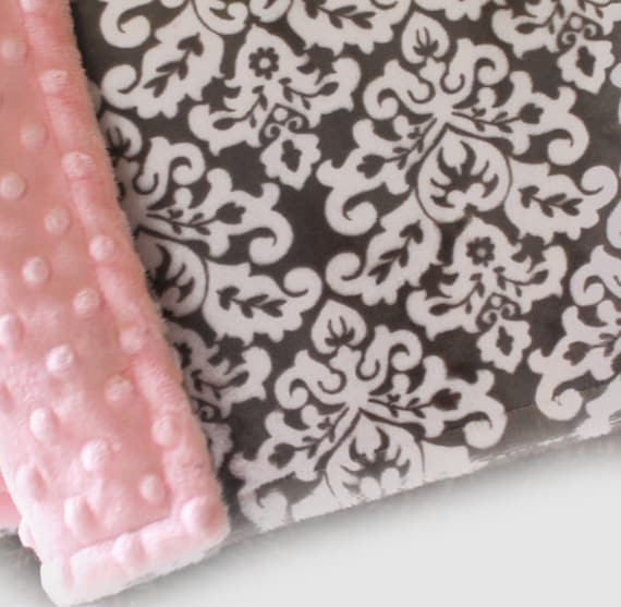 Personalized Blanket - Pink Gray Damask Blanket - Girl Lovey Blanket or Tag Blanket / Mini Baby Blanket Girl // Minky Blanket / Baby Gift