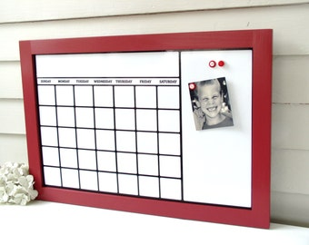 Dry Erase Calendar Organizer with Red Handmade Solid Wood Frame 17 x 25 Magnetic Board Family Message Schedule Center - Bulletin Board