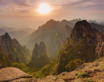 Panoramic Wall Art Photography, Huangshan Sunset, China Photography, Forest Mountain Photo, China Wall Art Print, 10x20, 12x24, 16x32, 20x40