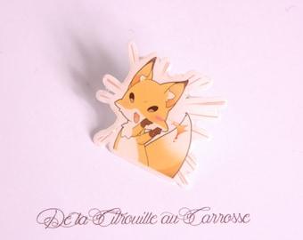 Kawaii style fox pin badge