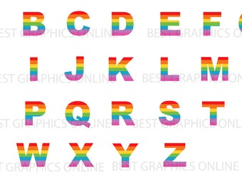 rainbow alphabet clipart rainbow scrapbooking clip art rh etsy com clipart scrapbooking gratuit clipart for digital scrapbooking