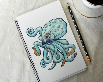 Green Octopus Wearing A Bow Tie Notebook