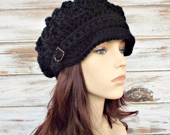 Crochet Hat Womens Hat Black Newsboy Hat Black Hat - Spring Monarch Ribbed Crochet Newsboy Hat in Black Crochet Hat - Womens Accessories