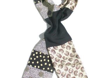 Patchwork Scarf, Kimono Scarf, Men's Silk Scarf, Upcycled, Kimono Silk, Pieced Scarf, Recycled Kimono, Black, Beige, Repurposed, Luxury