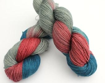 Thor The Dark World - Norse God - Mythology -  Hand Dyed Yarn - ready to ship - 4ply & sock - DK weight - 100g- dark Blue Grey Red Yarn