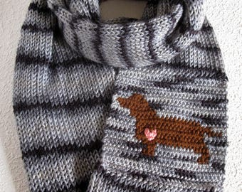 Dachshund Infinity Scarf. Gray and black striped, knitted scarf with a brown weenie dog and pink heart. Dachshund gift. Knit dog scarf.