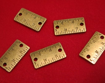 """BULK! 30pc """"ruler"""" connector charms in antique bronze style (BC196B)"""