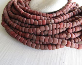 rustic brown red  glass seed bead, matte barrel tube, small  ethnic spacer , indonesian 3 to 7mm, new indo-pacific (22 inches)7ab29-12