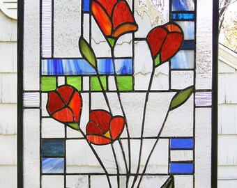 "Stained Glass Window Panel--California Red Poppies---12"" x 17.5"""