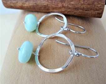 Ready to ship. Mint Peruvian Opal rustic earrings. October birthstone. Opal earrings. Dangle earrings. Opal. Gift. Zodiac. Christmas gift