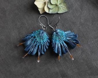 Blue Blossom Earrings - indigo dyed silk