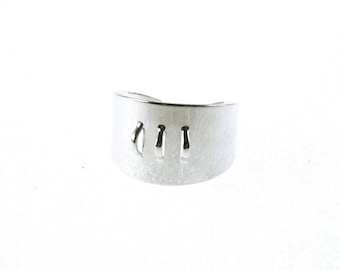 Metal ring, with 3 eyes (1 mm) - adjustable 20 to 21mm - Nickel silver - BAOE16AG516