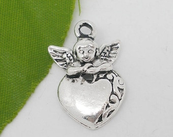 1 Angel and heart charm in silver 16 * 25 mm