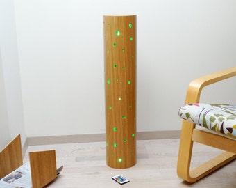 Wooden lamp (oak), wooden cylinder lamp, multicolor lighting lamp, LED lighting lamp, lamp in curved plywood