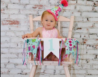 First birthday hat - birthday party banner -cupcake party hat - photo prop - first birthday - hat and banner - cupcake party - pink and aqua