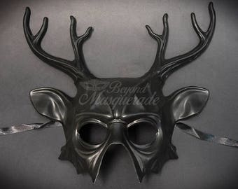 Deer Halloween Haunted House Props Animal Masquerade Mask Black
