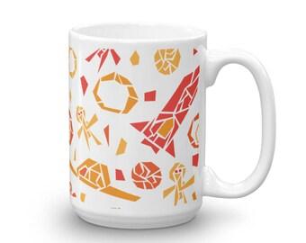Alien Mug - Spaceship  Mug - Rocket Mug - 15 oz - Mosaic Art