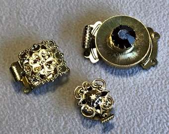 3 Vintage gold filigree box clasp, Vintage Czech box clasp, Vintage box clasp, single strand, double strand, 1 strand clasp, 2 strand clasp