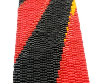 Red Rays Peyote Stitch Cuff Bracelet