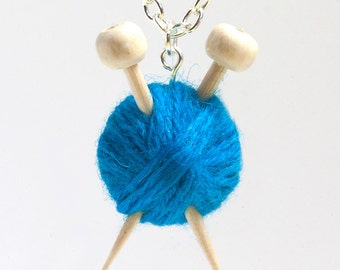 Knitting Needles & Ball of Wool Necklace - Blue yarn - Gift for a knitter