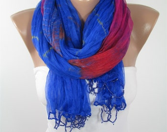 Mothers Day Gift For Her Ombre Scarf Blue Scarf Shawl   Fashion Scarf Gift For Mom Holiday clothing gift