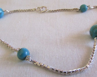 """10"""" Sterlilng Silver Chain and Turquoise Bead Ankle Bracelet"""