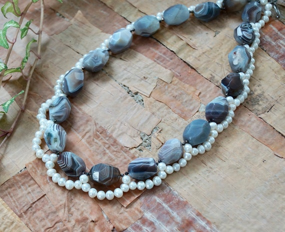 Chunky gemstone & freshwater pearl necklace