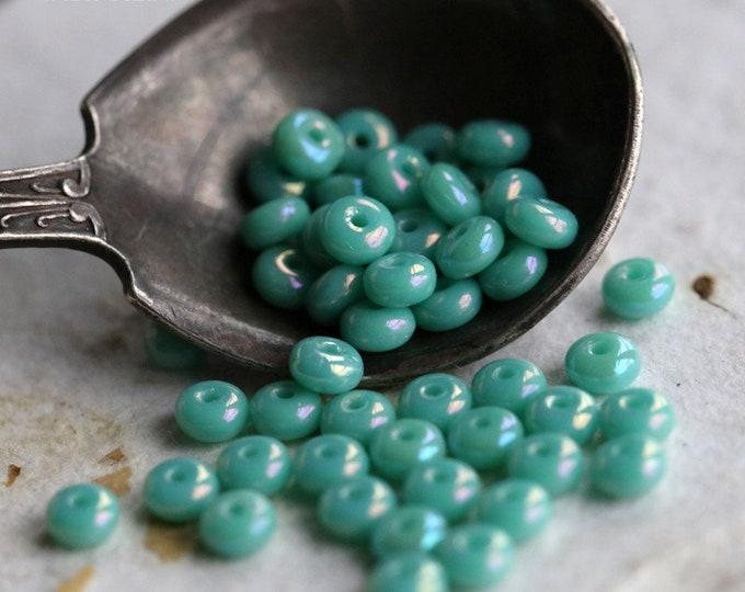 TURQUOISE AB BITS .. 50 Premium Czech Glass Rondelle Beads 2x3mm (6237-50)