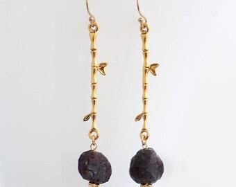 Raw Garnet Earrings - Rough Stone Dangle Earrings - Long Drop Earrings - January Birthstone Earrings - Boho Chic Jewelry - Raw Crystal