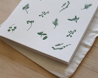 Letterpress Blank Journal - Kitchen Herbs Pattern