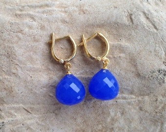 Midsummers Eve Mysterious Caribbean Blue Chalcedony Dew Drops on Sterling Silver/Gold Vermeil Leaver Back Earrings